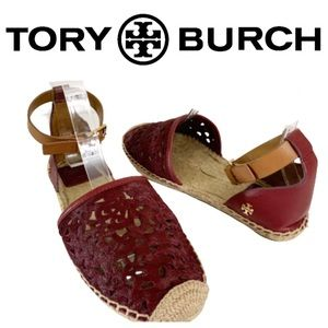 Tory Burch Red Clarisse Laser Cut Espadrille Shoe